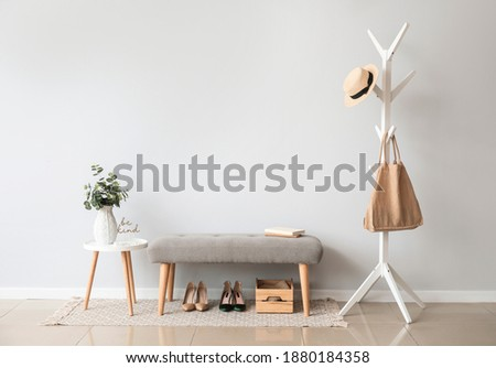 Stylish interior of modern hall with bench Stock fotó ©