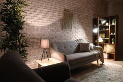 Stylish interior of room at night