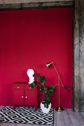 Stylish interior of the room with scarlet walls, a red chest of drawers, a female head sculpture, a floor lamp, a ficus plant in a white vase. A modern space with designer accessories. Home decor.
