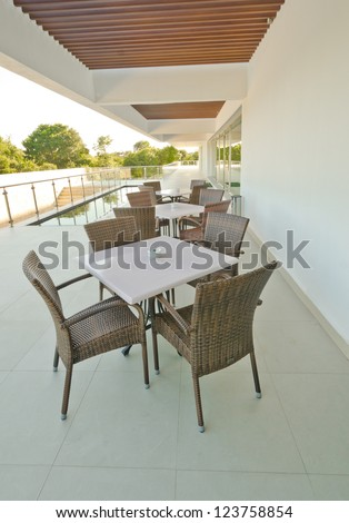 Stylish interior, patio of the restaurant, cafe, bar of the luxury Mexican resort.