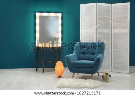 stylish interior with trendy...