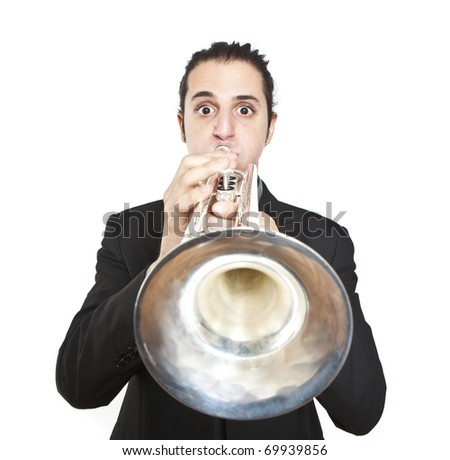 stylish jazz man playing the trumpet on white background - stock photo