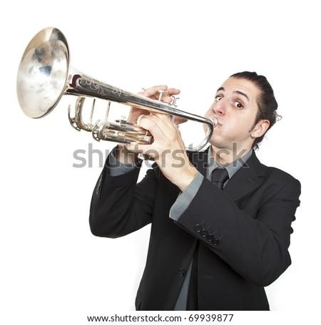 stylish jazz man playing the trumpet on white background