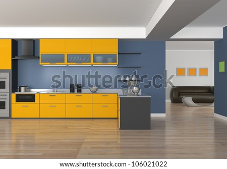 stylish kitchen design with yellow panel