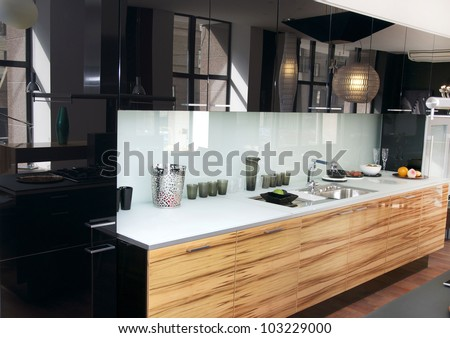 stylish kitchen with marble table