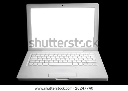 Stylish laptop computer with Isolated white screen.