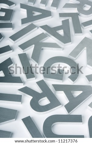 Stylish letters cut out of polished steel