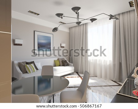 stylish living room and kitchen 3d render #506867167