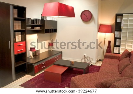 red and brown living rooms on Stylish Living Room In Red And Brown Colors  Stock Photo 39224677