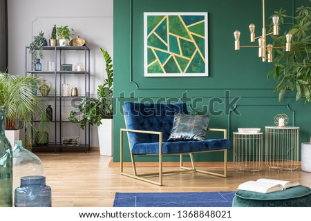 Stylish living room interior idea with green, blue and gold colors #1368848021