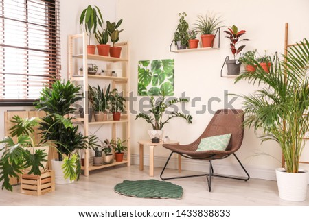 Stylish living room interior with home plants and lounge chair #1433838833