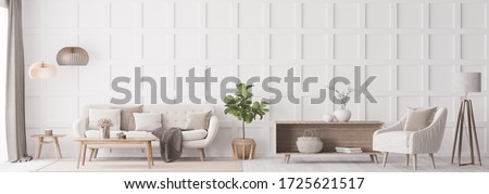 Stylish living room interior with wooden coffee table, and elegant accessories. Beautiful beige sofa, Template. Modern home staging. Wall paneling. Details, panorama, 3D render, 3D illustration