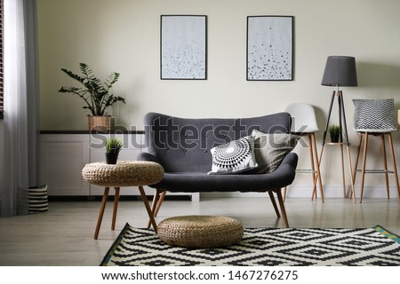 Stylish living room with modern furniture and stylish decor. Idea for interior design