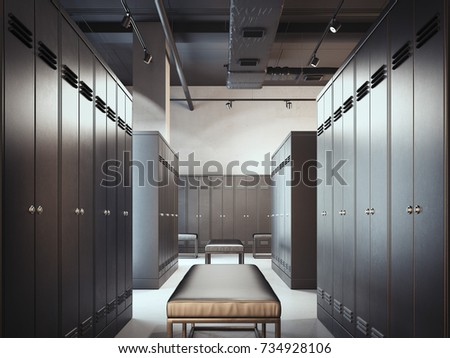 Shutterstock Stylish locker room in modern gym. 3d rendering