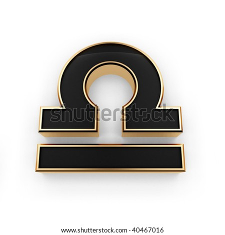 Stylish looking 3D Libra zodiac symbol icon isolated on white background - stock photo