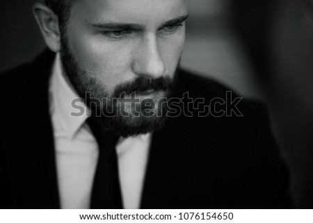 Stylish man, male portrait. Black and white. Classics #1076154650