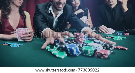 Stylish man wins in the casino