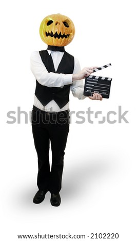 Stylish man with a pumpkin head holds a movie clapboard