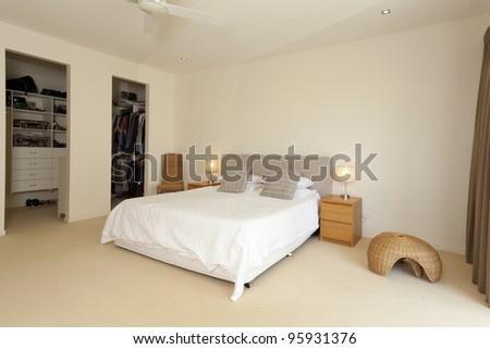 Stylish master bedroom with walk in closet