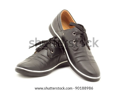 Stylish men's shoes on a white background