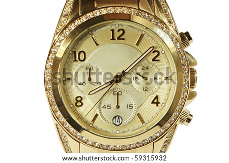 Stylish men's watches gold with stones. Close-up. Isolated on white background.