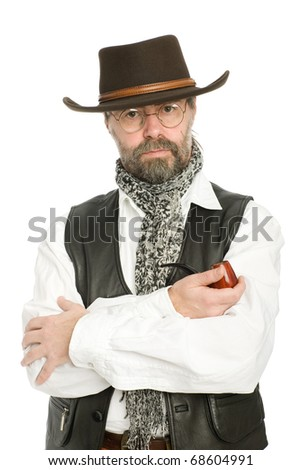Stylish middle aged man with a smoking pipe.