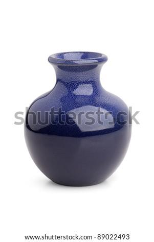 Stylish miniature ceramic vase on white background
