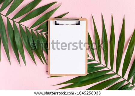 Stylish minimal composition with clip board and green leaves on a pink pastel background. Artwork mockup with copy space #1045258033