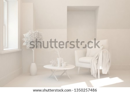 Stylish minimalist room with armchair in white color. Scandinavian interior design. 3D illustration #1350257486