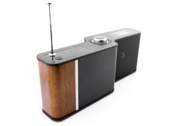 Stylish modern radio player isolated on white background