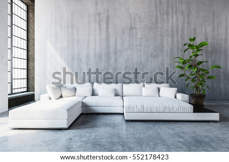 Stylish modern white modular sofa day bed with cushions in a spacious living room with tall windows and monochrome grey decor, 3d rendering