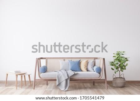 Stylish Modern wooden living room in white background, Scandinavian style, Rattan home decor, 3D render, 3D illustration