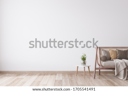 Stylish Modern wooden living room in white background, Scandinavian style, Rattan home decor, 3D render, 3D illustration