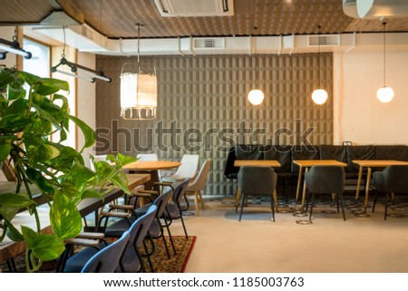 Stylish morden loft interior. Loft cafe