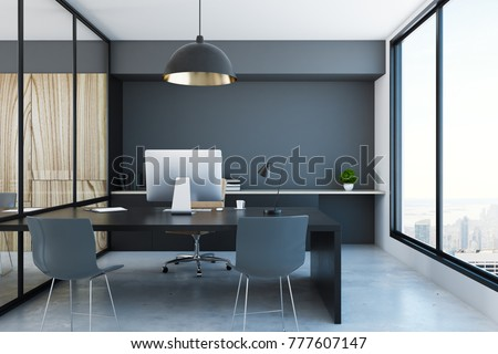 Stylish office interior with equipment and city view. 3D Rendering
