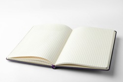 Stylish open notebook with blank sheets isolated on white