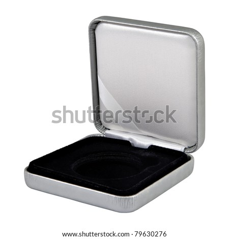 stylish opened leather silver case with black  interior isolated over white
