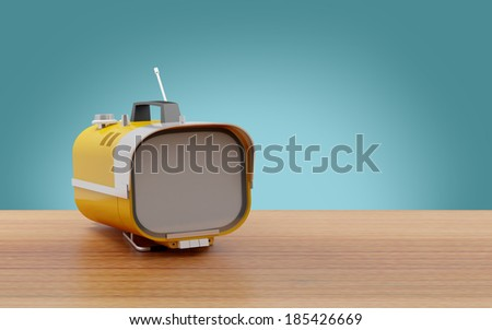 stylish orange retro tv mobile...