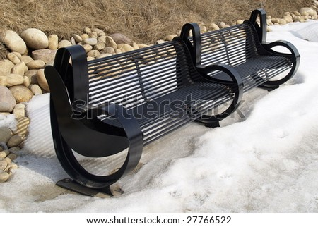 Stylish park benches overlooking the North Saskatchewan River at Edmonton, Alberta, Canada