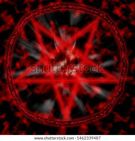 Stylish pentagram with satanic goat skulls and star .