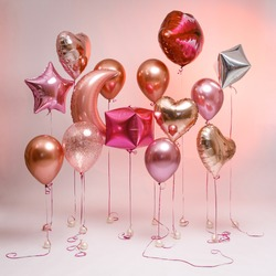 Stylish pink balloons for Valentine's day, hen party or baby shower.