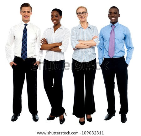 Stylish portrait of four business people, men and women