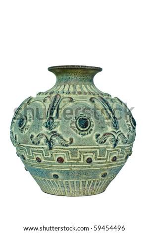 Stylish pot on white isolation