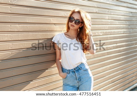 stylish pretty hipster woman in ...