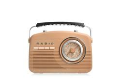 Stylish radio on white background