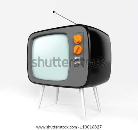 stylish retro TV in black body