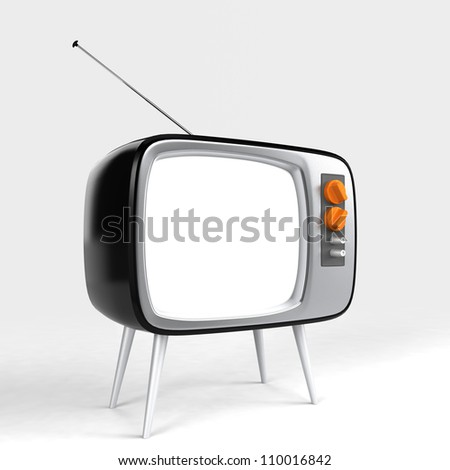stylish retro TV with blank screen for message or image