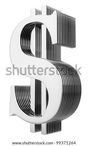 stylish ribbed metal dollar sign isolated on white
