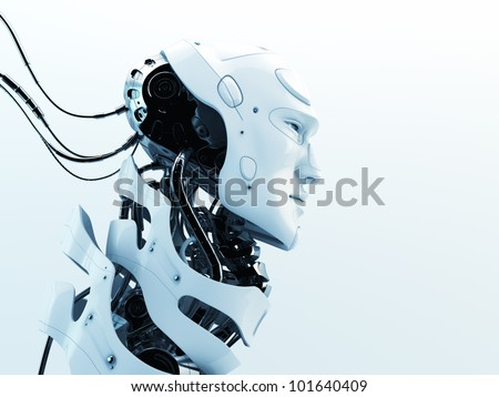 Stylish robot with wires and see through neck skeleton. Studio shot