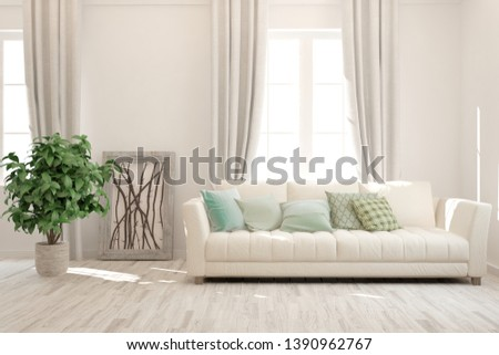 Stylish room in white color with sofa. Scandinavian interior design. 3D illustration #1390962767
